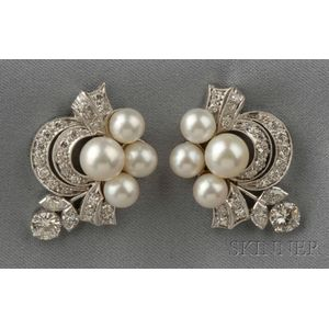 Platinum, Cultured Pearl, and Diamond Earclips