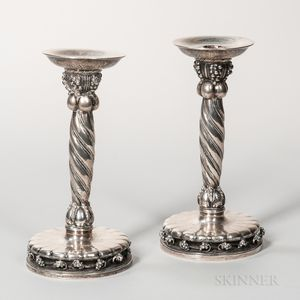 Pair of Georg Jensen Sterling Silver Candlesticks