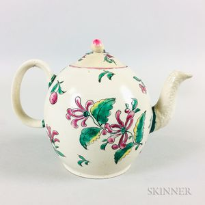 Staffordshire Salt-glazed and Enameled Ceramic Teapot