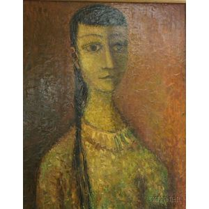 Framed Oil on Masonite Portrait of a Young Woman
