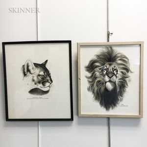 Lowell Francis Hess (American, 1921-2014)    Two Framed Ink Drawings: Cougar