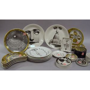 Thirty-five Pieces of Fornasetti Transfer Decorated Porcelain and Four Jean Cocteau   Designed Transfer Decorated Porcelain Plates