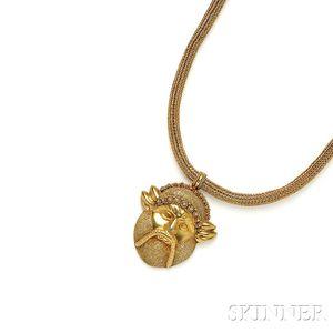 Etruscan Revival Gold Necklace