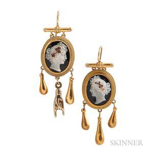 Antique Hardstone Cameo Earrings