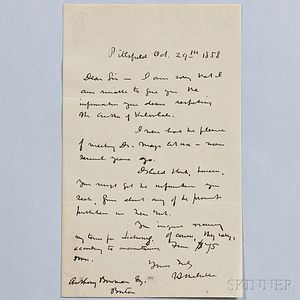 Melville, Herman (1819-1891) Autograph Letter Signed, Pittsfield, Massachusetts, 29 October 1858.