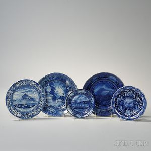 Five Historical Blue Staffordshire Plates