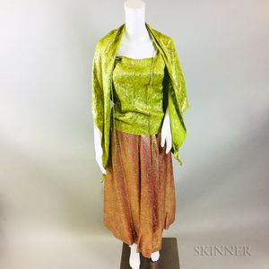 Vintage Mary McFadden Green and Pink Silk Outfit