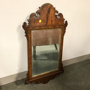 Chippendale Inlaid Mahogany Scroll-frame Mirror
