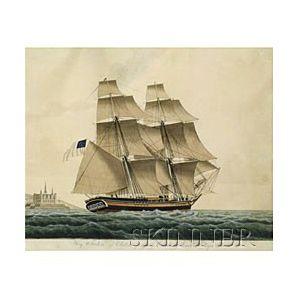 Jacob Petersen (Danish, 1774-1854)  The Brig Triton of Salem Passing Cronburg Castle Royal Prescott.