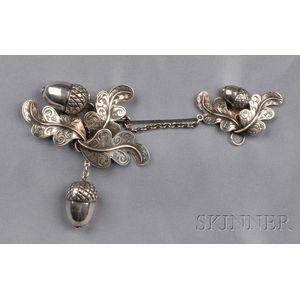Large Victorian Sterling Silver Acorn Brooch, George Unite