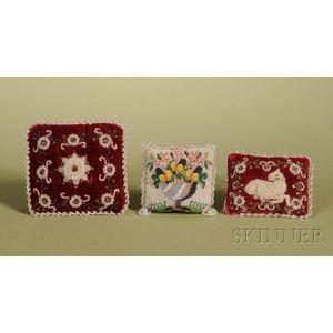 Three Miniature Victorian Beadwork Pillows
