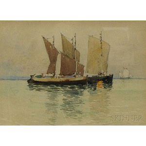 Carlton Theodore Chapman (American, 1860-1925)      Sailboats at Anchor