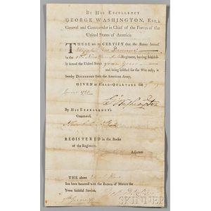 Washington, George (1732-1799) Military Discharge Signed, Headquarters, Newburgh, New York, 7 June 1783.