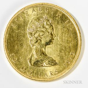 1979 Canadian $50 Maple Leaf Gold Coin.     Estimate $800-1,000
