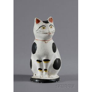 Painted Chalkware Cat Figure