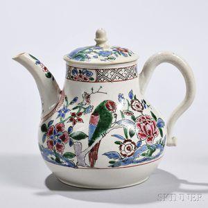 White Salt-glazed Stoneware Parrot   Teapot and Cover