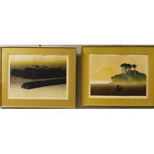 Elton Bennett (American, 1910-1974)      Two Screenprints: Rain on the River