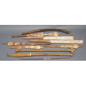 Ten Melanesian Carved Wood Items