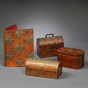 Four Victorian Wood-veneered Objects