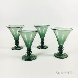 Set of Four Aqua Blown Glass Goblets