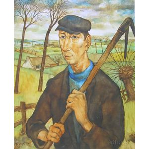 Framed Oil on Masonite Portrait of a Farmer