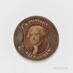 "1862 5 Cent ""Take Ayers Pills"" Encased Postage Stamp"