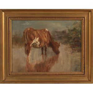 Charles Franklin Pierce (Sharon, New Hampshire 1884-1920)    Portrait of a Cow Drinking Water.