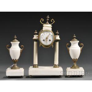 White Marble Three-piece Clock and Garniture