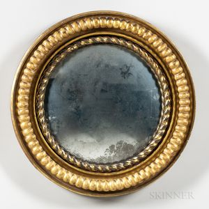 Round Carved Giltwood and Gesso Mirror