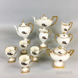 Belleek Willets Ten-piece Princeton Tigers Porcelain Tea and Coffee Set.     Estimate $20-200