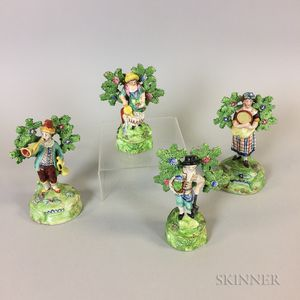 Four Staffordshire Ceramic Bocage Figures