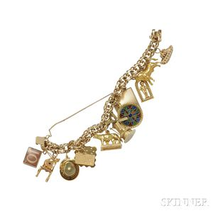 18kt and 14kt Gold Charm Bracelet