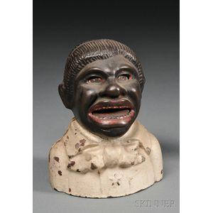 Polychrome Painted Cast Iron Uncle Tom Bank with Star