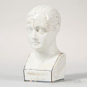L.N. Fowler Ceramic Phrenology Head