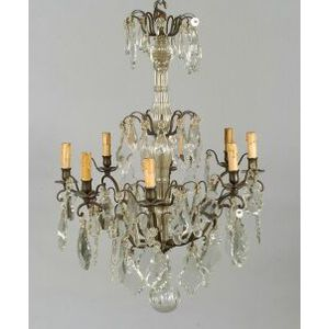 Swedish Rococo-style Bronze and Colorless Glass Eight Light Chandelier