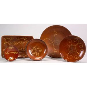 Five Yellow Slip Decorated Redware Dishes