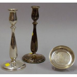 Pair of Sterling Cartier Weighted Candlesticks and Small Tiffany Sterling Plate.