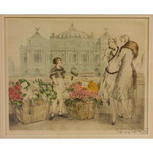 Louis Icart (French, 1888-1950)      Paris Flowers (Fleurs de Paris)