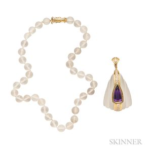 18kt Gold, Rock Crystal, and Amethyst Pendant and Necklace