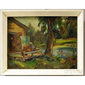 John Shayn (American, 1901-1977)      H.C. Christy Painting at Pollett, VT