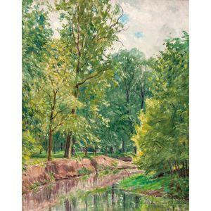 Ernest Harrison Barnes (American, 1873-1955)    Landscape with Sun