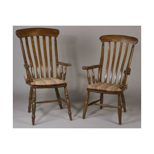 Harlequin Set of Eight English Country Windsor Armchairs