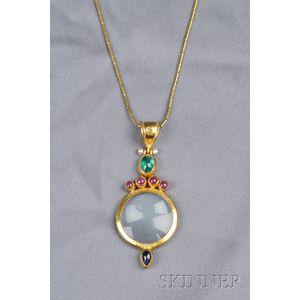24kt Gold and Gem-set Magnifying Glass Pendant