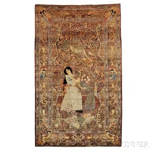 Southeast Persian Pictorial Silk Rug