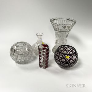 Five Cut and Cut-to-clear Glass Vases and Bowls