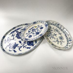 Three Continental Porcelain Serving Platters