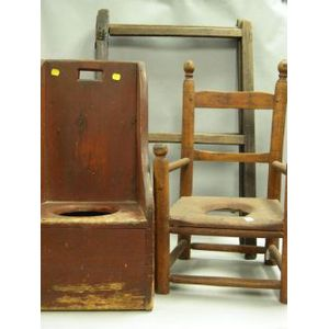 Two Country Childs Potty Chairs and a Wooden Two-Part Drying Rack.