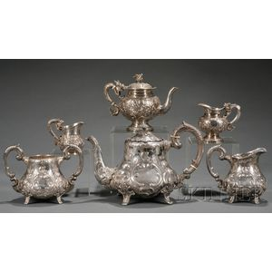Six Chinese Export Silver Tea Ware Items