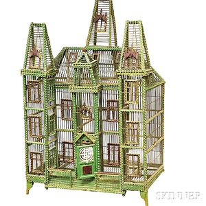 Large Victorian Green-painted Architectural Birdcage