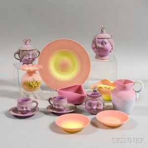 Fourteen Pieces of Glass and Ceramic Tableware Items